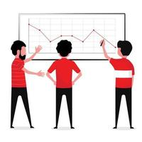Three business men looking at graph