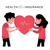 Insured man and woman holding heart