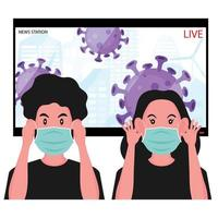 People put on masks following virus news vector