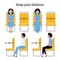distanciamiento social mientras viaja en autobús o tren