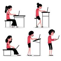 Character posture set with people sitting and standing with laptops