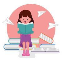 niña sentada en libros y leyendo un libro vector