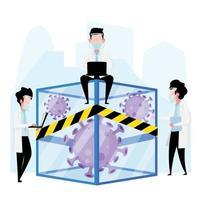 Doctors put coronavirus in negative pressure isolation chamber vector
