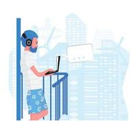 Man working from home with computer on balcony vector