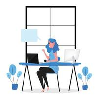 Lady working and communicating on computers at home vector