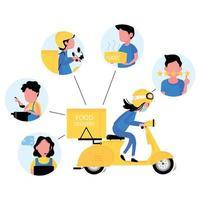 Ordering food online process via mobile phone vector