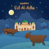 Banner de recorte nocturno de eid adha con animales y mezquita vector