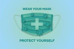 Poster with glowing green mask and text vector