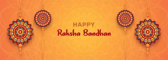 Raksha Bandhan orange banner with 4 colorful mandalas vector