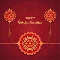 Raksha Bandhan design with hanging mandalas and wristband mandala vector