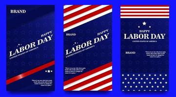 Social Media Story Templates for Labor Day vector