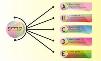 Colorful Glossy A-E Label and Circle Infographic