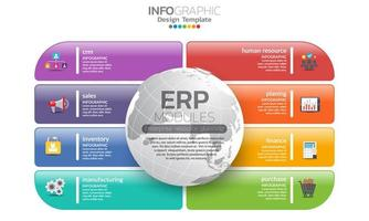 Colorful rounded rectangle enterprise resource planning module infographic