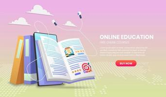 E-learning banner with headphones and open book vector