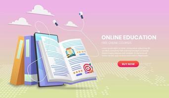 Banner de e-learning con auriculares y libro abierto. vector