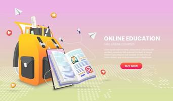 E-learning banner with bag, book, and mobile phone vector