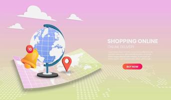Global online shipping and delivery concept vector
