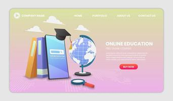 concepto de aplicación de educación digital en línea vector