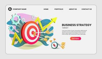 Business strategy concept with arrows hitting target vector