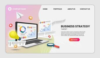 Business strategy concept laptop and chart vector