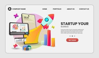 Startup concept on mobile application web template