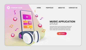 Music phone application web template