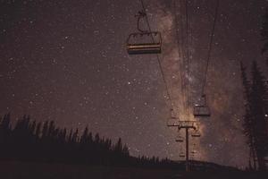 Ski lift at night