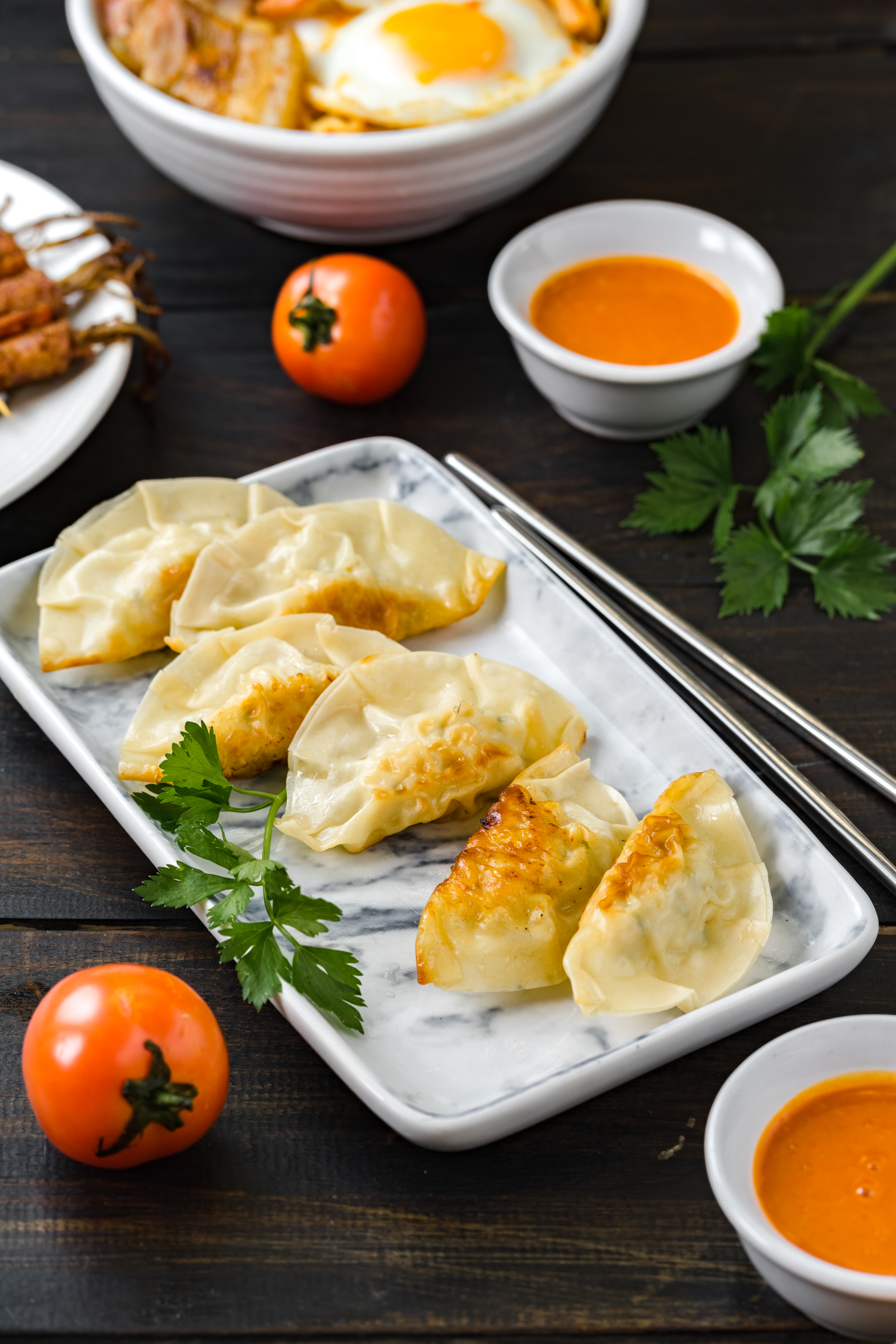 Pan-fried Japanese dumplings or Gyoza