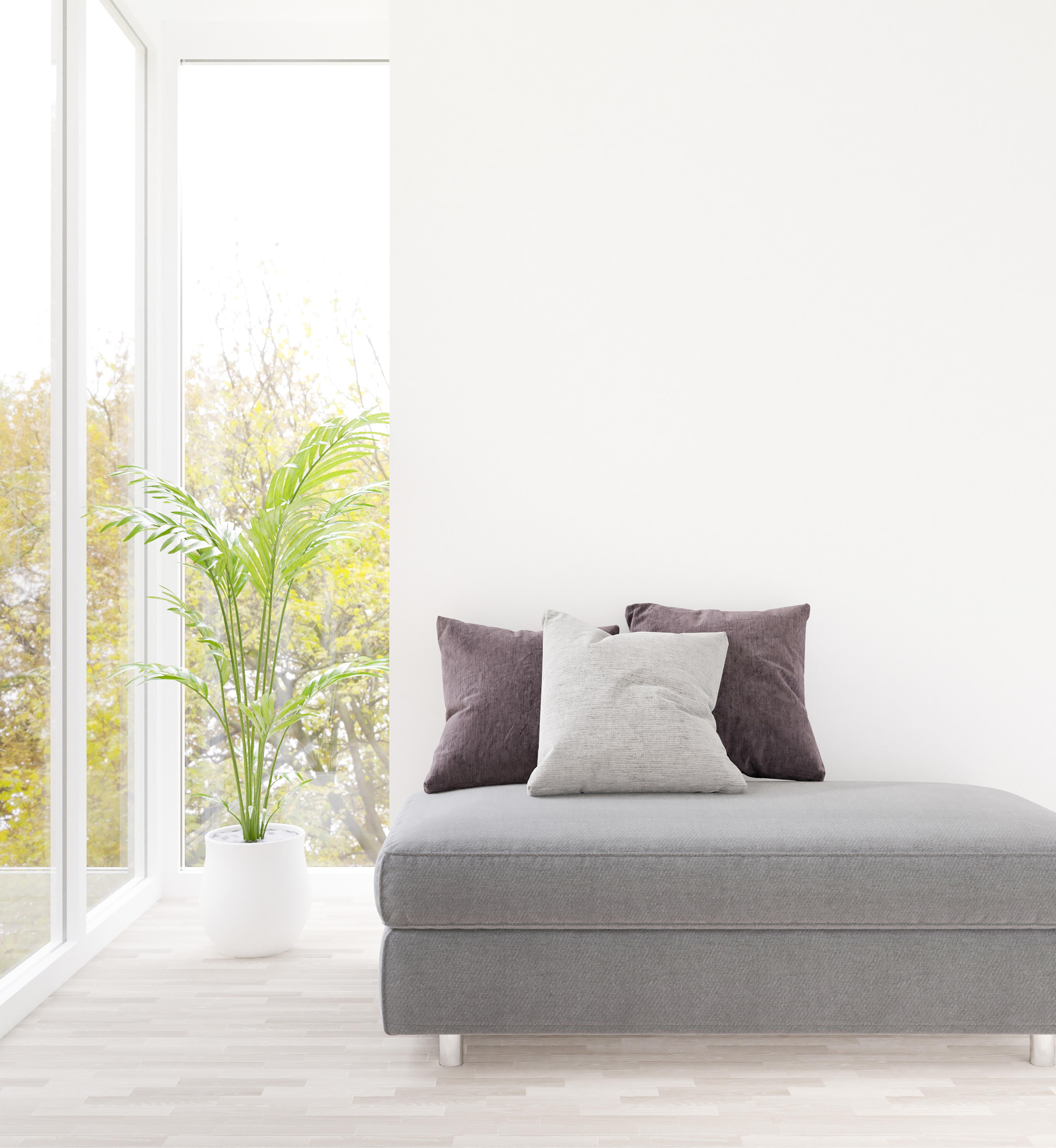 Digital 3D render of white living room