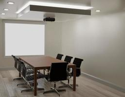 Meeting room with white wall