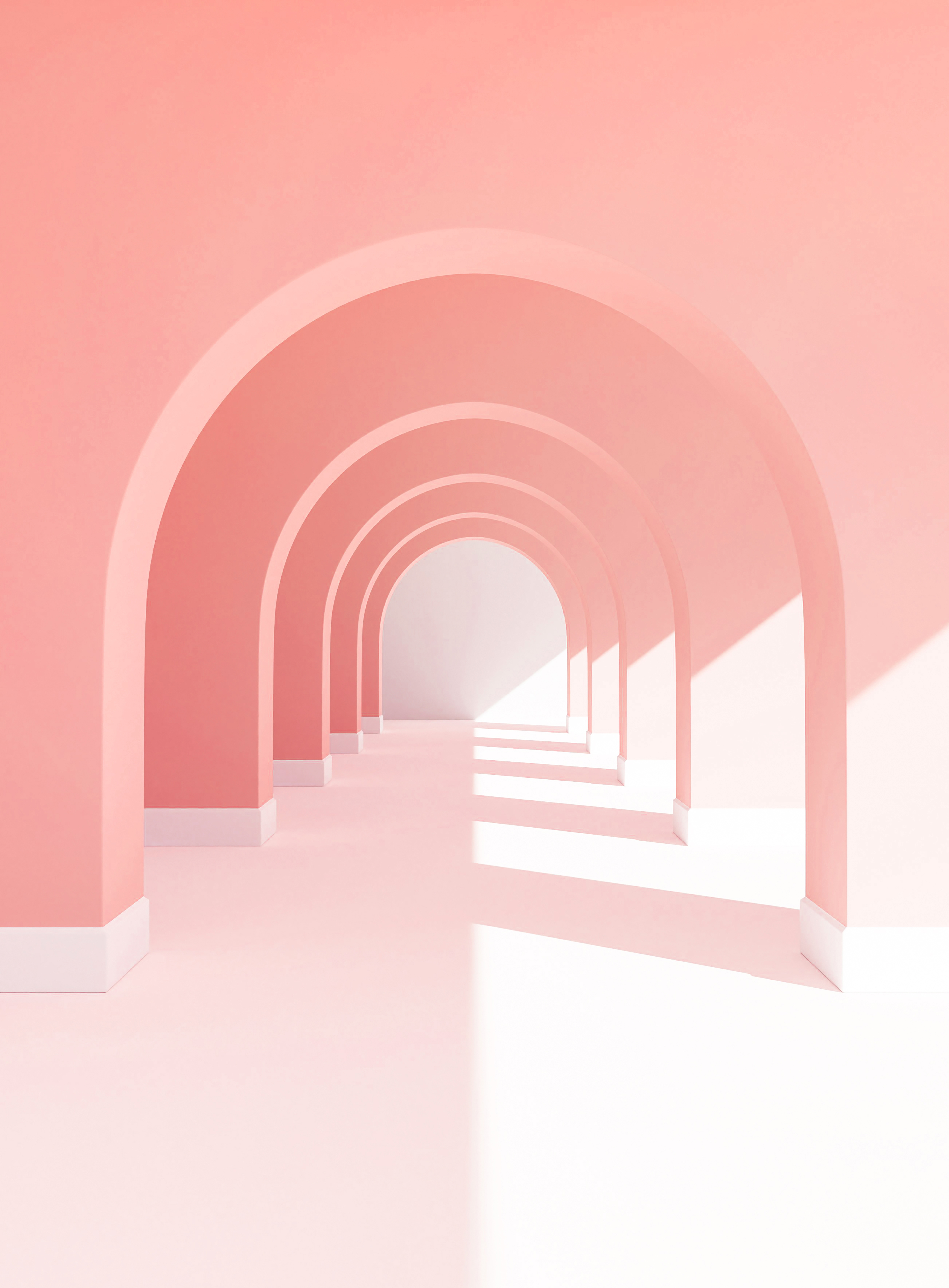 3D pastel walkway with sunlight