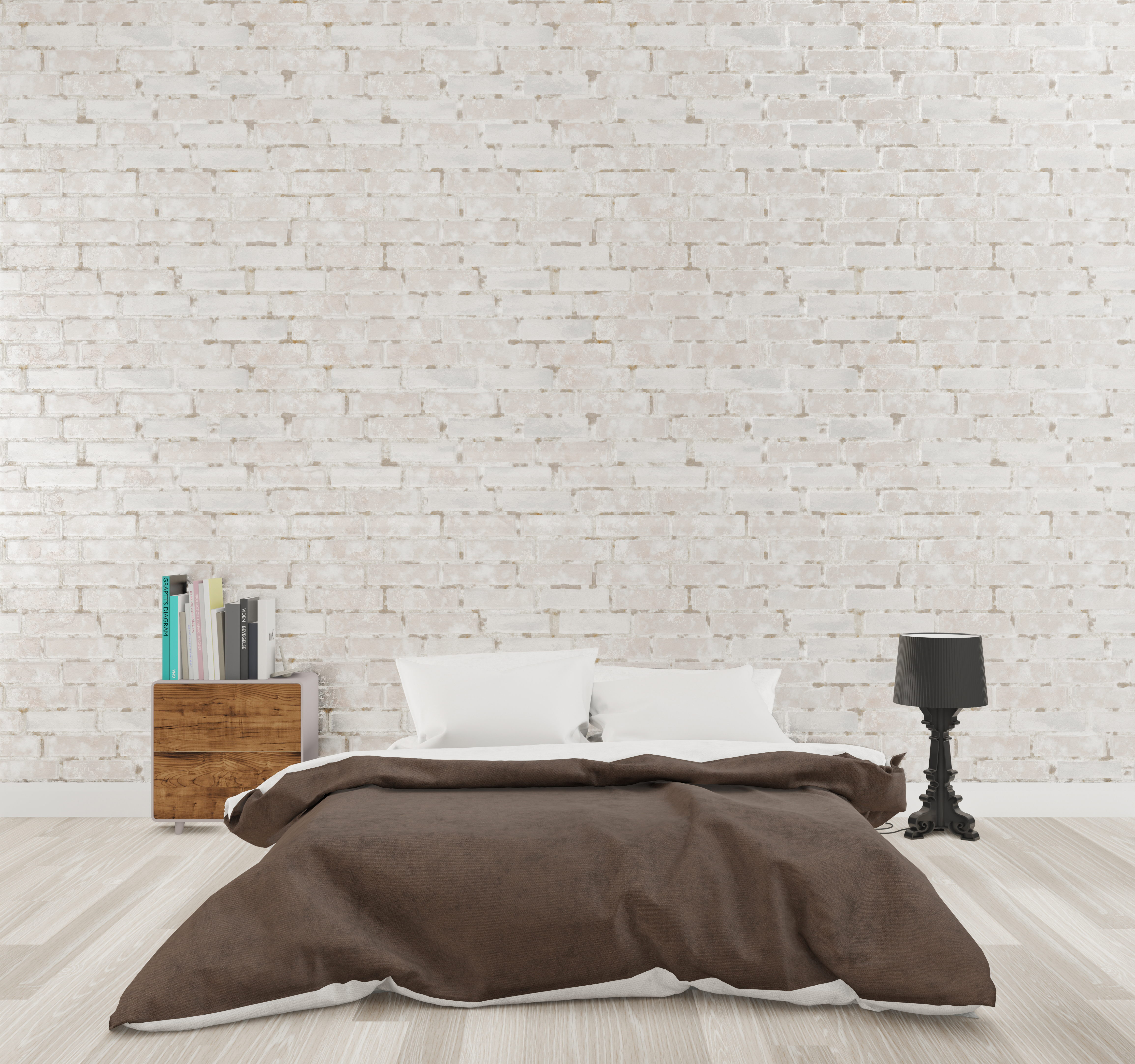 Loft style bedroom with white brick wall