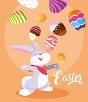 lindo conejo haciendo malabares con huevos de pascua vector