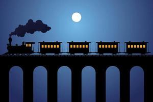silueta de tren de vapor con vagones en el puente