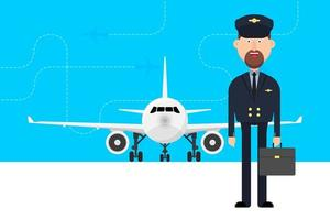 Travel concept with plane and pilot  vector