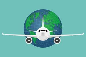 viaje en avión con globo terráqueo