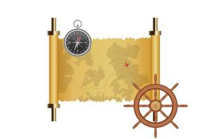 Treasure map, ship wheel and magnetic compass isolated