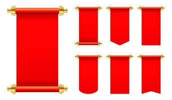 Red paper scroll set isolated  vector
