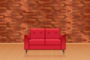 Living room interior with brick wall decoration vector