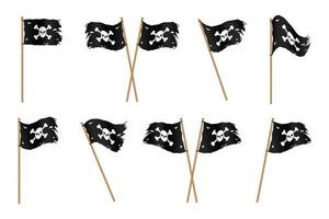 Ragged black pirate flags with skull and crossbones vector