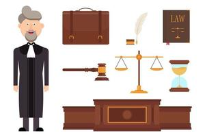 Set of judge character and law elements vector
