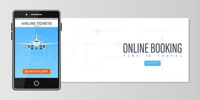 Online booking for plane ticket concept with phone vector