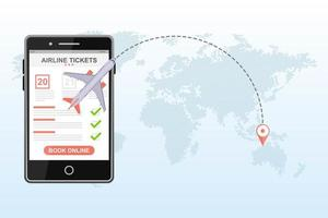 Booking flight on a mobile app  vector
