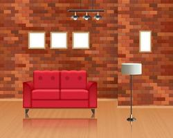Living room interior with a brick wall decoration vector