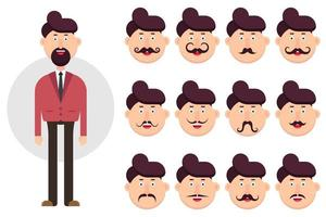 Man character with different types of mustaches  vector