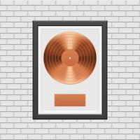 Bronze vinyl record with black frame  vector