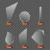 Set of glass trophys vector