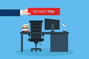 Hand holding we need you sign in office vector