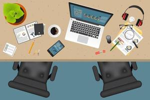 Business planning and auditing top view with office objects vector