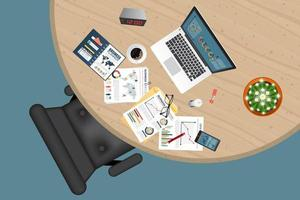 Business planning and analyzing top view with documents vector